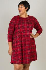 Plus Size 3/4 Sleeve Plaid Dress