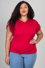 Plus Size Lap Over Short Sleeve Top