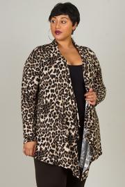 Plus Size Leopard Print Asymmetrical Cardigan
