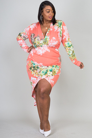 OVERLAP FRONT LONG SLEEVE FLORAL PRINTED DRESS