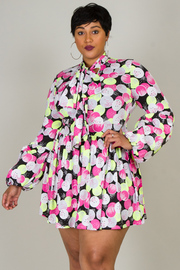 LONG PUFFED OUT SLEEVES WITH BOW MULTI DOT PRINTED MINI DRESS