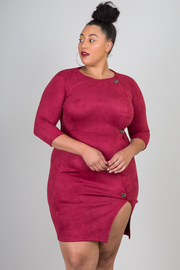 Plus Size 3/4 Sleeve Dress With Button Accent To The Side