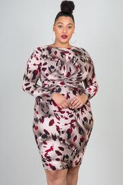 Plus Size High Crew Neck Long Sleeve Print Dress