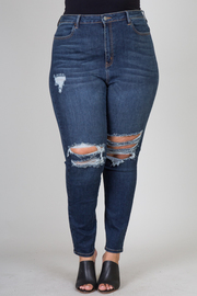 Plus Size  Dark Wash distressed jeans