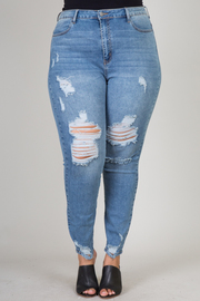 Plus Size Light Wash And Distressed Jeans