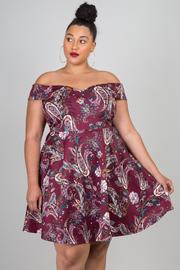 Plus Size Short Sleeve Off The Shoulder Floral Dress