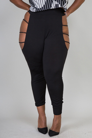 HIGH WAIST SIDE BIG HOLE SEXY LEGGINS