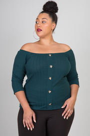 Plus Size Button Down Off The Shoulder 3/4 Sleeve Top
