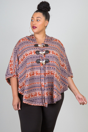 Plus Size Reindeer Print Button Detail With Hoodie Poncho