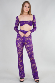 Lace Crop Top with Transparent Skinny Pants Two Pieces Set