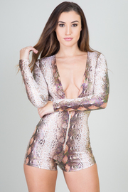Sexy Deep V Neck Long Sleeve Romper