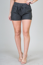 Short shorts With An Elasticized Waistband And Side Pockets