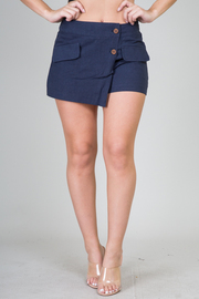Overlap Short Shorts With Button Detail