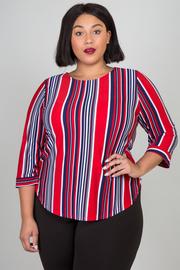 Plus Size Jewel Neckline Stripe Top