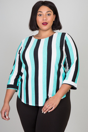 Plus Size Crew Neck Casual 3/4 Sleeve Striped Blouse