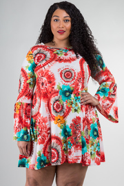Plus Size Crew Neck Long Bell Dress With Pockets