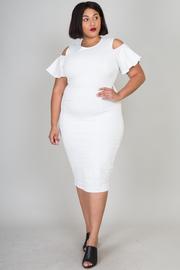 Plus Size Open Shoulder Flirty Sleek Midi Dress