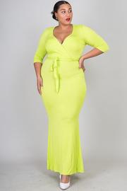 Plus Size Surplice 3/4 Sleeved Tie Maxi Dress