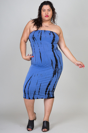 Plus Size Tie Dye Tube Maxi Dress