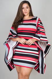ROUND NECK SHOULDER OPEN WITH NET BAND SLEEVE STRIPED DRESS