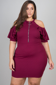 Plus Size Ruffled Cold Shoulder Zip-Up Mini Dress