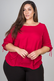 Plus Size 3/4 Sleeve Top With Cut Out Detail On Side of Sleeve