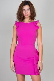 Ruffle Detail On The Side Open Back Mini Dress