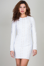 Long Sleeve Mini Dress with Lace-Up Detail