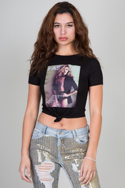 Short Sleeve Front Cover Print Crop Top