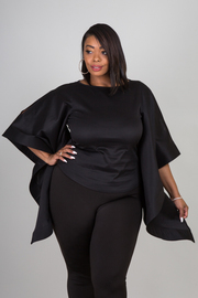 Plus Size Exaggerated Cape Sleeved Trendy Top
