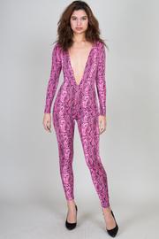 Deep V-Neck Long Sleeve Snake Print Jumpsuit