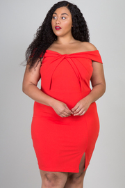 Plus Size Off The Shoulder Twist Front With Zipper On Back Mini Dress