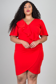 Plus Size Short Bell Sleeve Ruffle Paneled With Tul