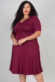 Plus Size Knit Ruched Midi Dress