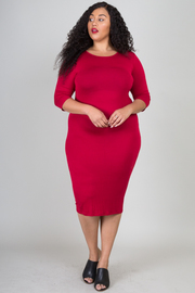 Plus Size Solid Hue Body-Con Dress