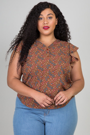 Plus Size Floral Print Ruffle Sleeve V-Neck Top