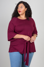 PLUS SIZE TIE-FRONT TUNIC