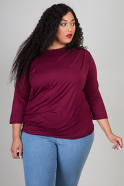 PLUS SIZE 3/4 SLEEVE RUCHED TOP