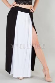 Two Tone Side Slit Maxi Skirt