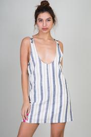 Sleeveless Stripe Mini Dress With Button Detail