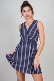 Sleeveless Stripe Flouncy Mini Dress With Knot Accent