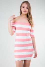 Off Shoulder Short Sleeve Knit Stripe Mini Dress