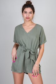 Romper With Waist Tie and Pockets