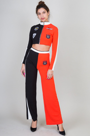 Two Piece Set Long Sleeve High Neckline Crop Top and Wide Leg Pant