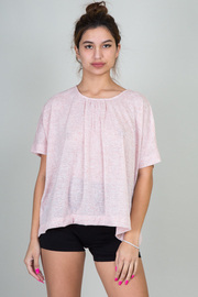 High Crew Neckline With Peat Accent Short Sleeve Top