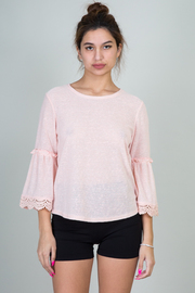 Small Bell Sleeve Top With Crochet Detail On Hem