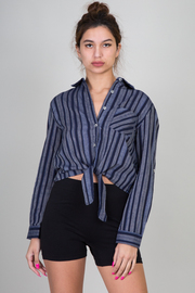 Long Sleeve Button Up Stripe Crop Blouse With Tie-Up At Waist