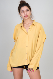 Long Sleeve Button Down Blouse With Cut-Out At Shoulder