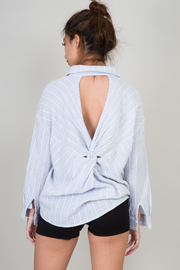 Long Sleeve Open Twist Back Blouse