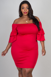 Plus Size Off Shoulder Ruffled Short Sleeve
